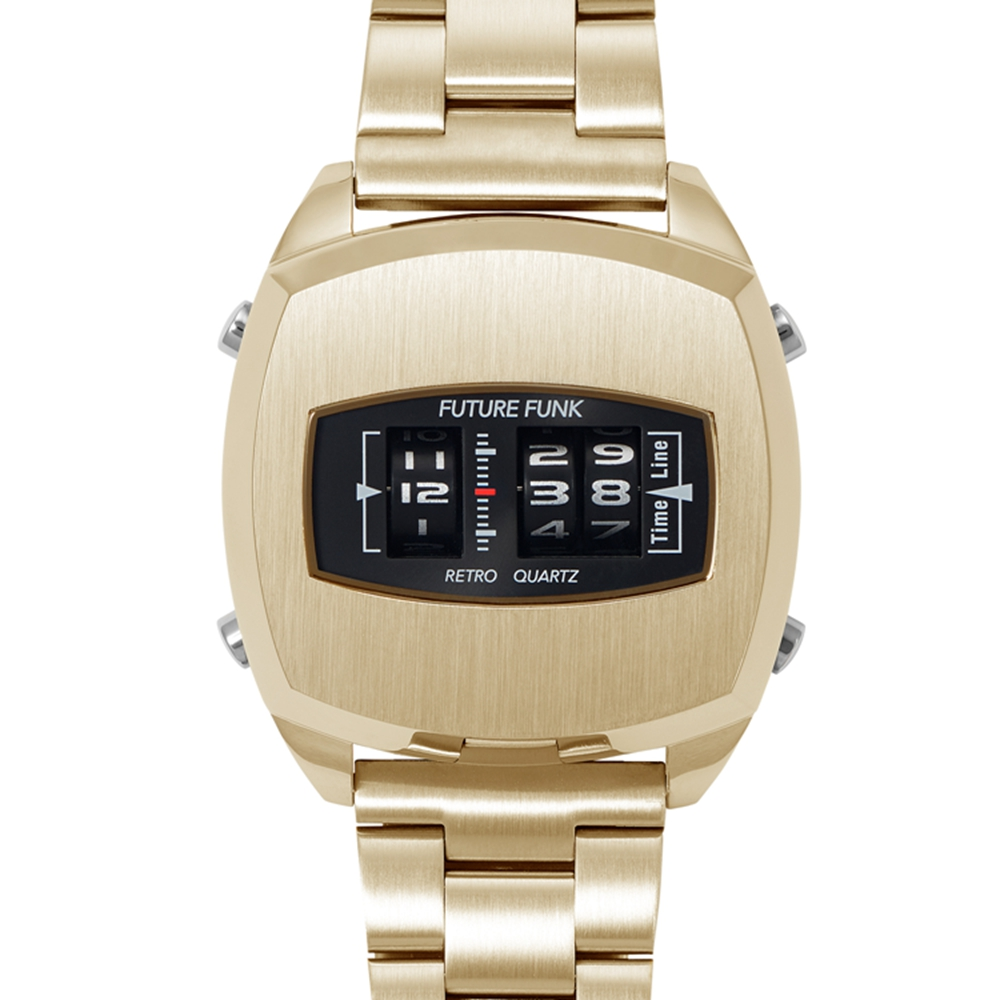 Future Funk|榮耀同在-帝王金,金屬錶帶,限量機皇,日本直立迴轉石英錶