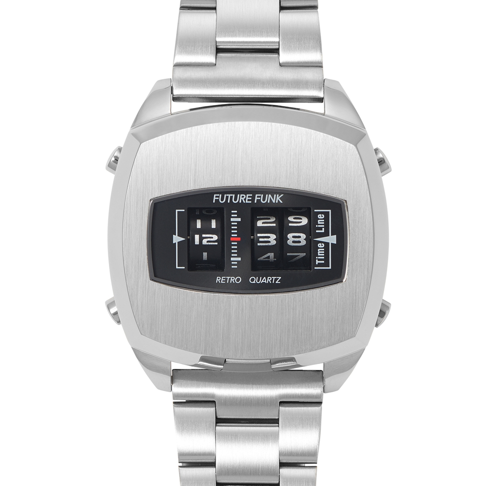 Future Funk|榮耀同在-太空銀,金屬錶帶,日本直立迴轉石英錶