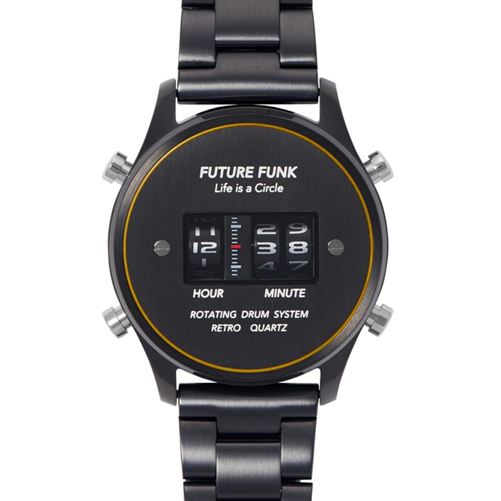 Future Funk|太空時代-寂靜黑,日本直立迴轉石英錶,極致黑金屬錶帶
