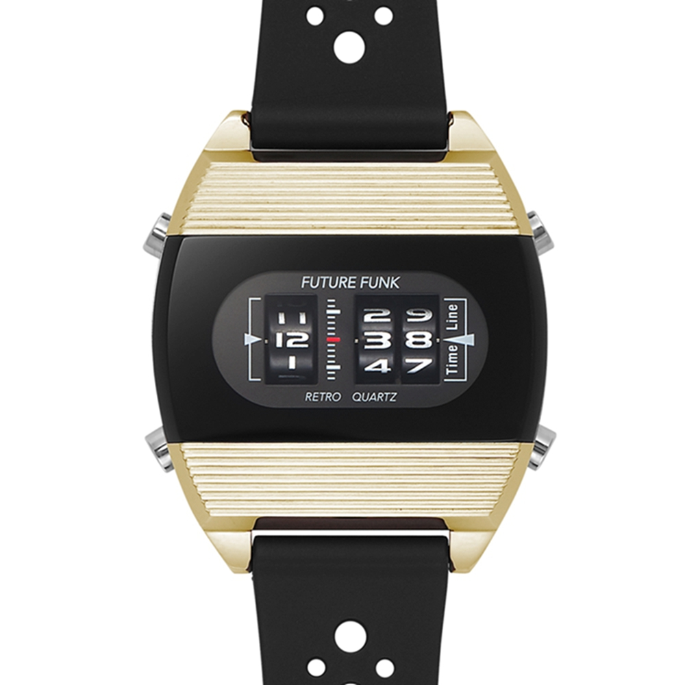 Future Funk|閃亮日子,彩霞金,日本直立迴轉石英錶,運動橡膠錶帶