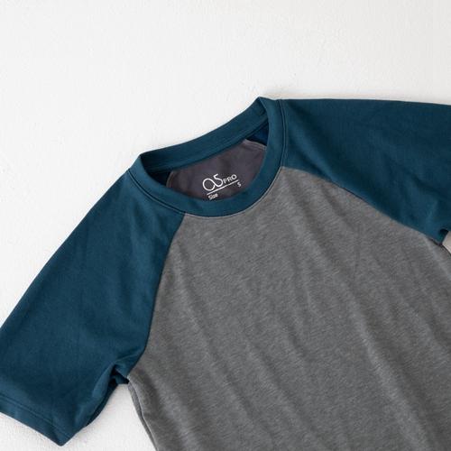 O5 PRO 奇異長效涼感T-男版/拉格蘭袖 (灰身青袖)