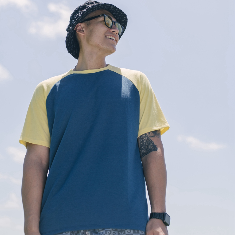 O5 PRO|奇異長效涼感T-男版/拉格蘭袖 (青身黃袖)