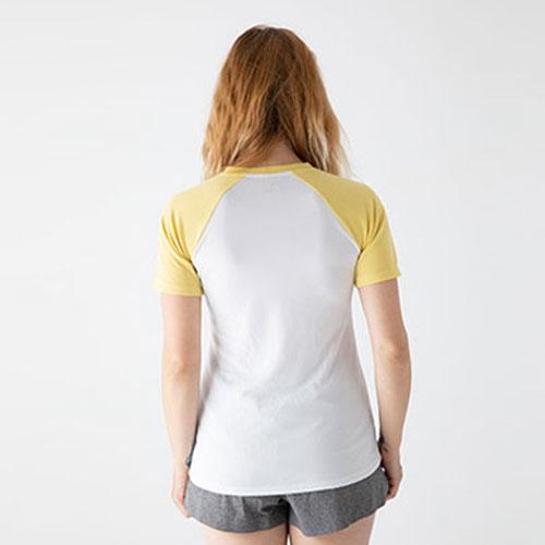 O5 PRO|奇異長效涼感T-女版/拉格蘭袖 (白身黃袖)