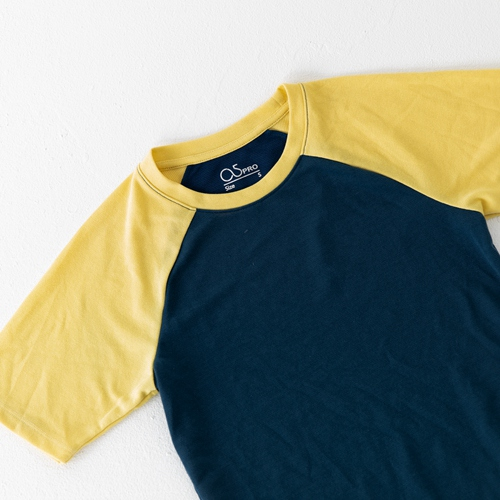 O5 PRO|奇異長效涼感T-女版/拉格蘭袖 (青身黃袖)