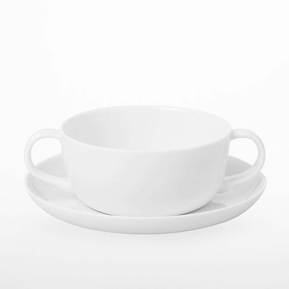 TG|白瓷雙耳湯碗盤組 - 350ml