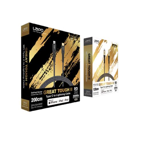 LaPO|極限系列 USB-C to Lightning 防彈纖維傳輸線 1.2M