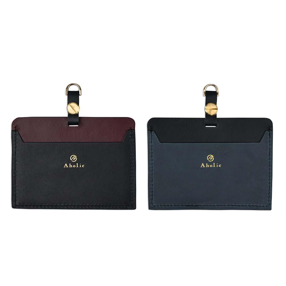 Aholic|橫式燙金真皮證件夾 - 黑/酒紅