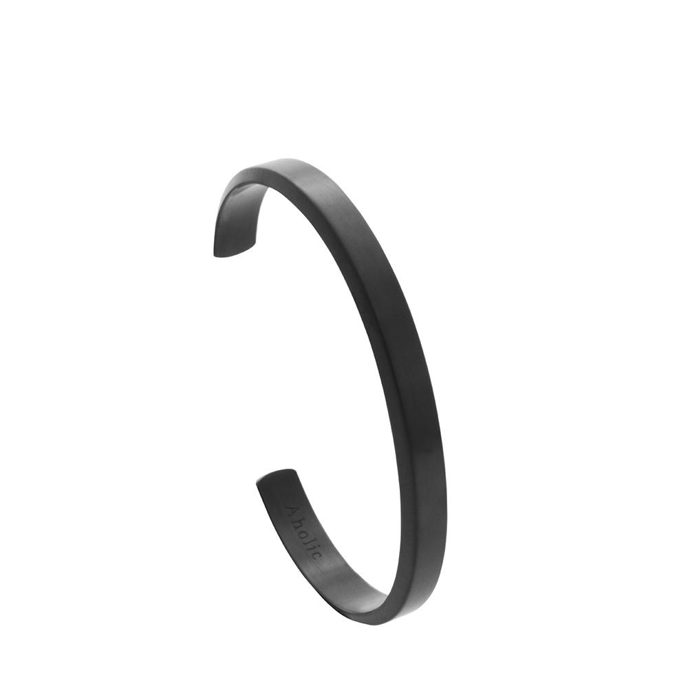 Aholic|CUFF 男款經典手環 (拉絲黑)