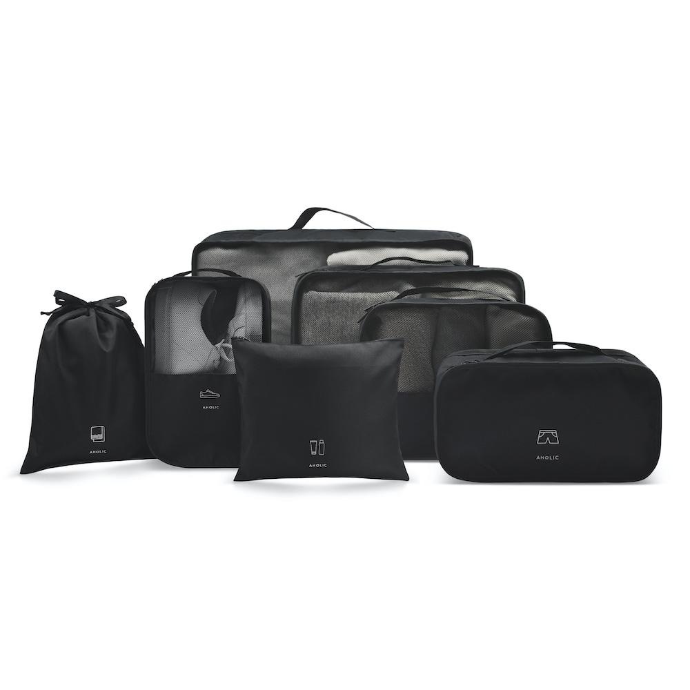 Aholic|旅用收納7件組 (黑色)