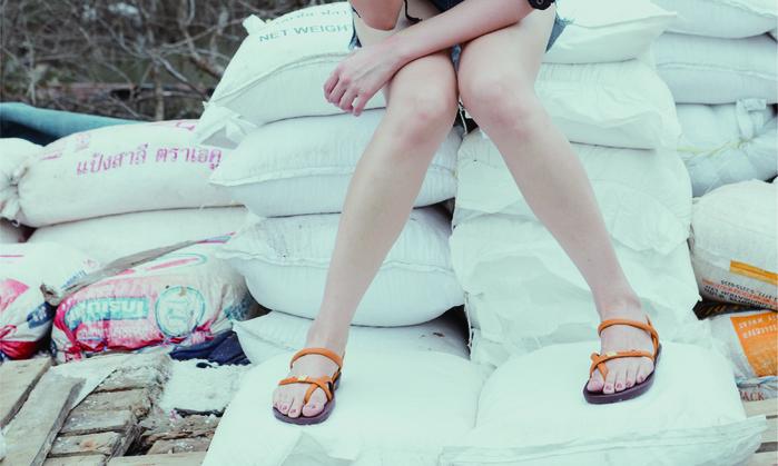 (複製)blackOut|訂製細帶涼鞋-灰底+白鞋帶