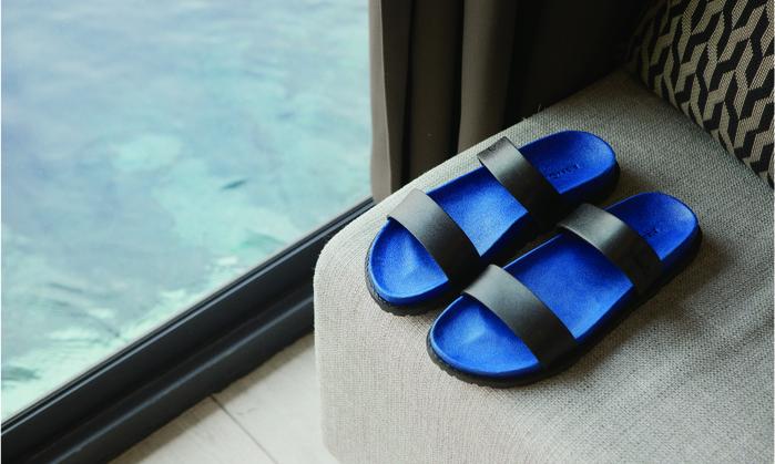 (複製)blackOut|訂製寬帶拖鞋-灰底+藍鞋帶