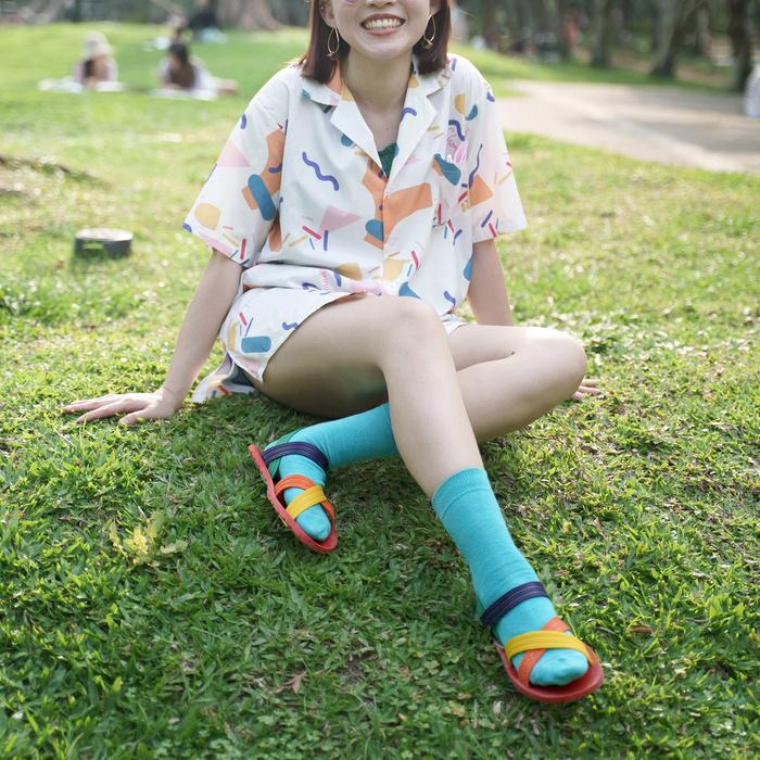 blackOut|訂製X系列涼鞋-限定彩色款-紅底+彩色鞋帶