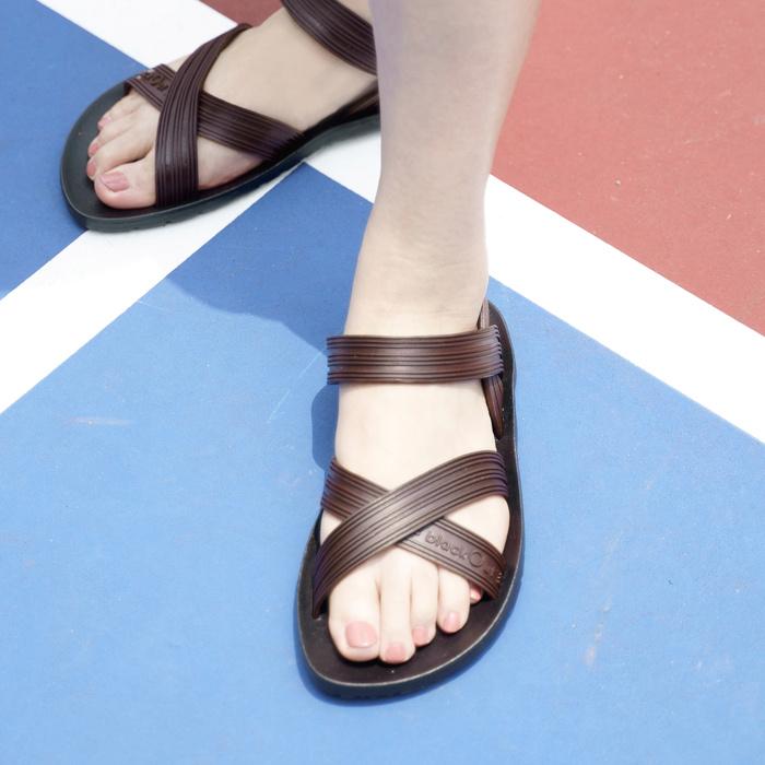 blackOut|訂製X系列涼鞋-素色款-黑底+巧克力鞋帶