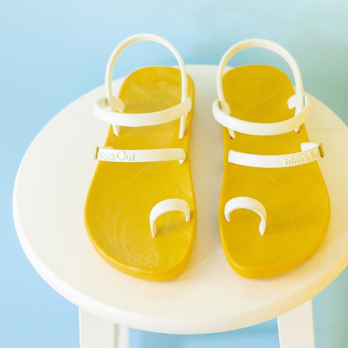 blackOut|訂製趾環涼鞋-素色款-黃底+白鞋帶