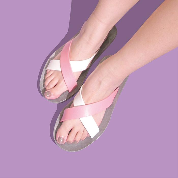 blackOut 訂製交叉拖鞋-限定彩色款-灰底+白淺粉鞋帶
