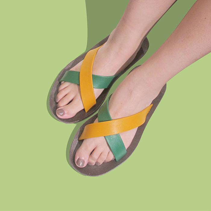 blackOut|訂製交叉拖鞋-限定彩色款-巧克力底+綠芥黃鞋帶