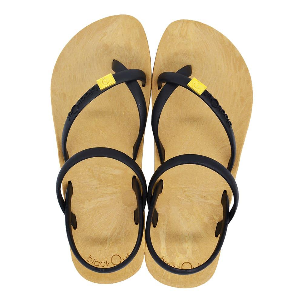 blackOut|訂製細帶涼鞋-卡其底+黑鞋帶