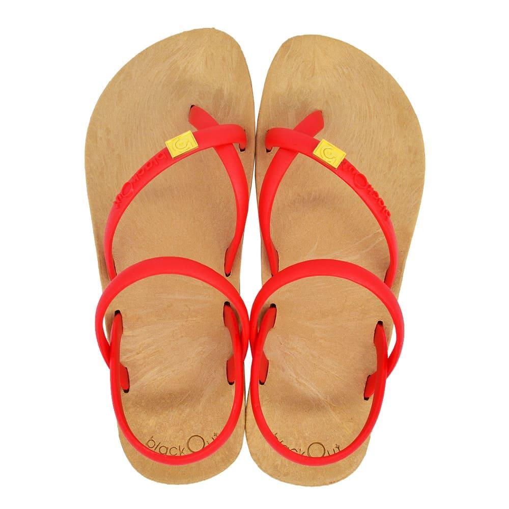 blackOut|訂製細帶涼鞋-卡其底+紅鞋帶