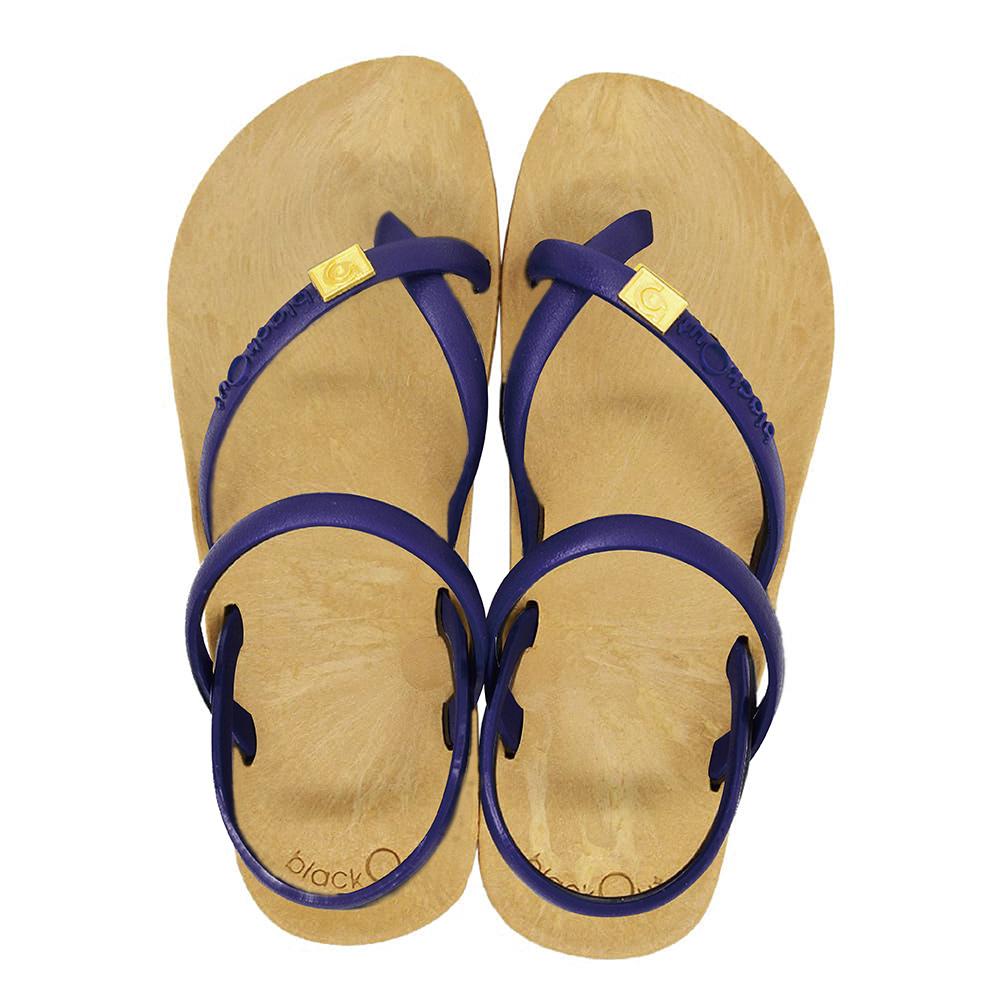 blackOut|訂製細帶涼鞋-卡其底+藍鞋帶