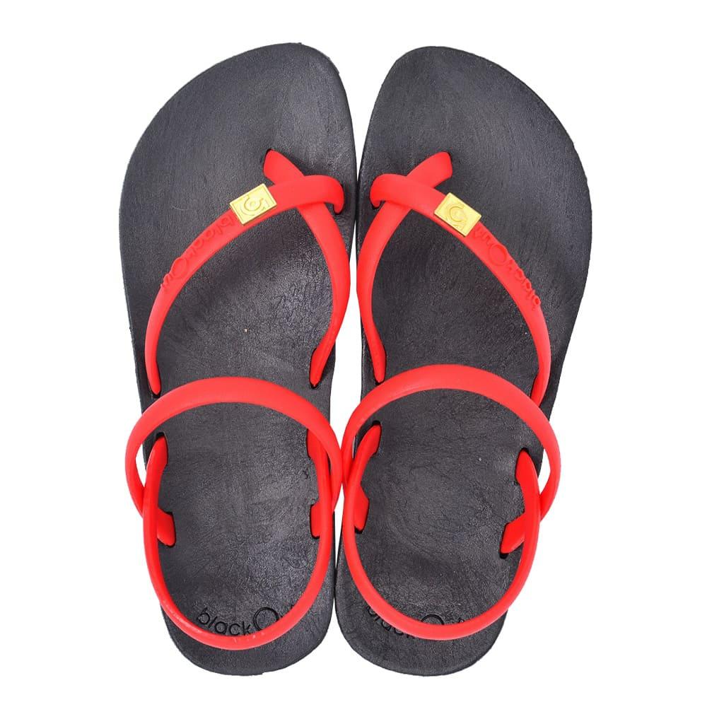 blackOut|訂製細帶涼鞋-黑底+紅鞋帶