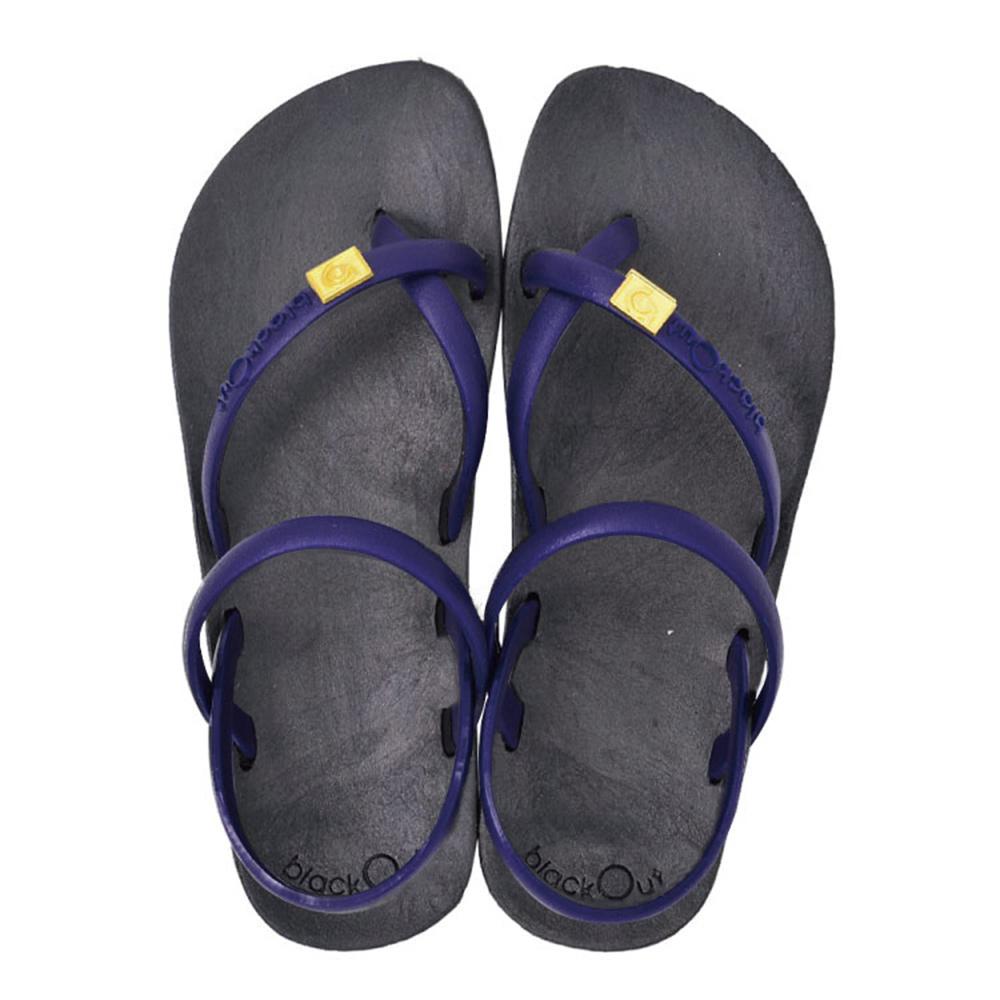 blackOut|訂製細帶涼鞋-黑底+藍鞋帶