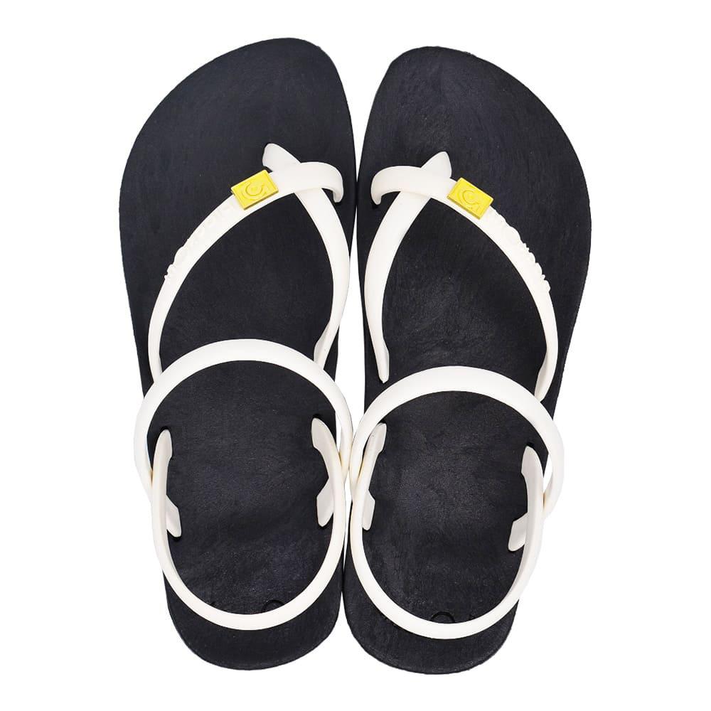 blackOut|訂製細帶涼鞋-黑底+白鞋帶