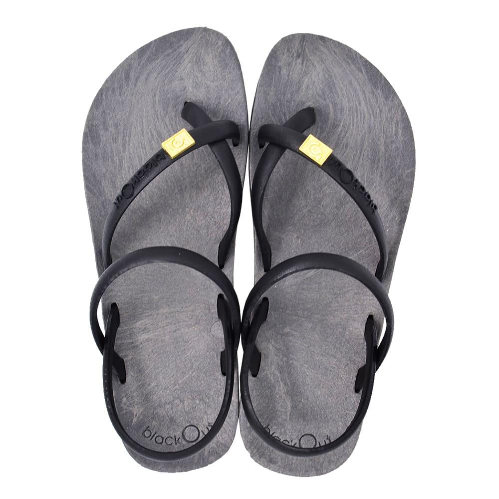 blackOut|訂製細帶涼鞋-灰底+黑鞋帶