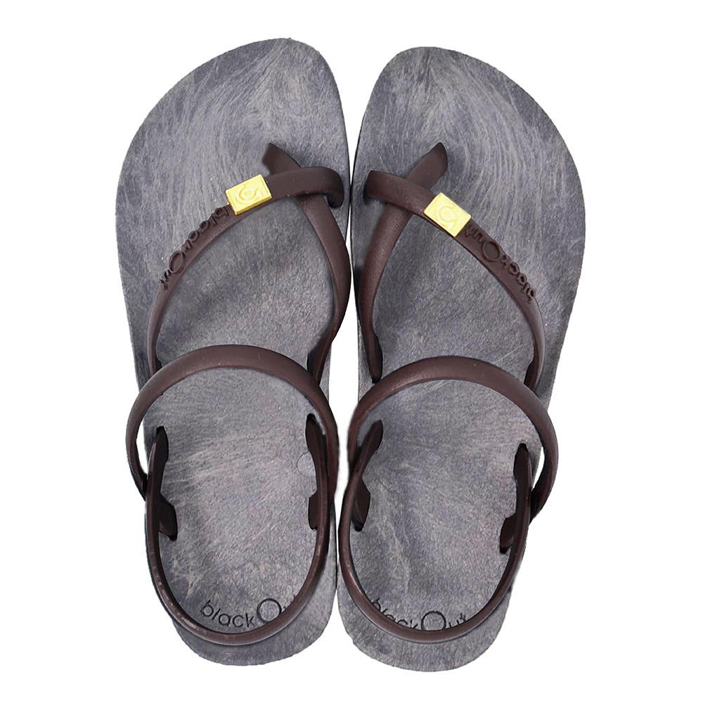 blackOut|訂製細帶涼鞋-灰底+巧克力鞋帶