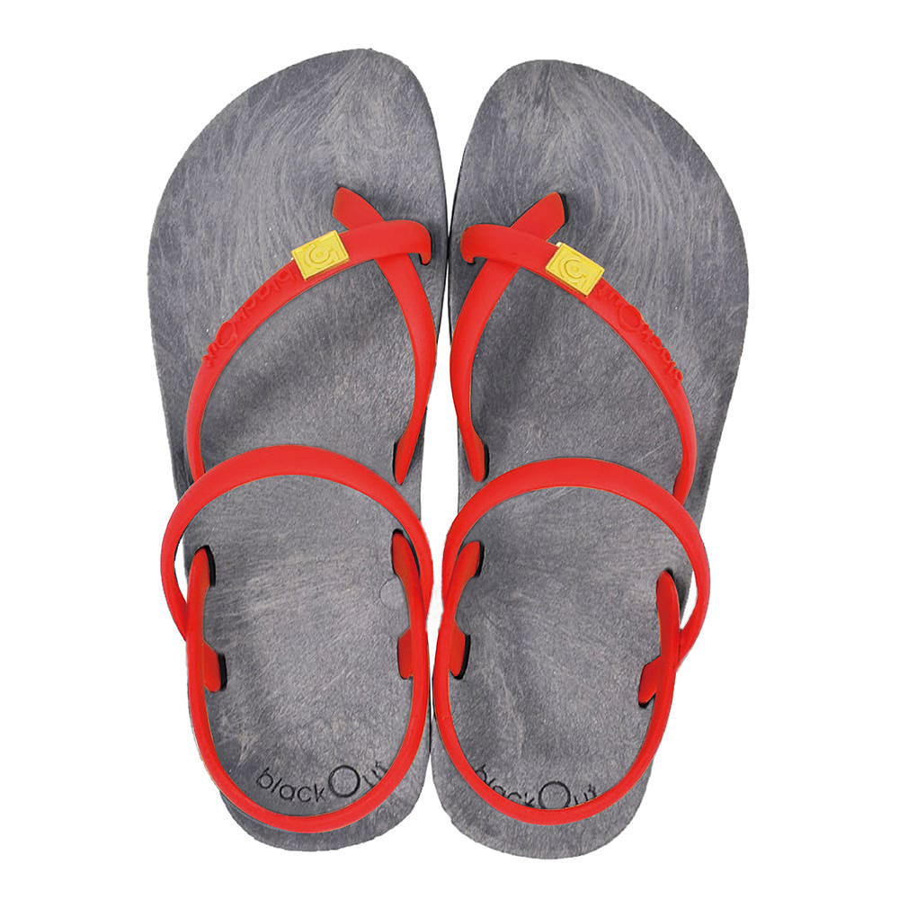 blackOut 訂製細帶涼鞋-灰底+紅鞋帶