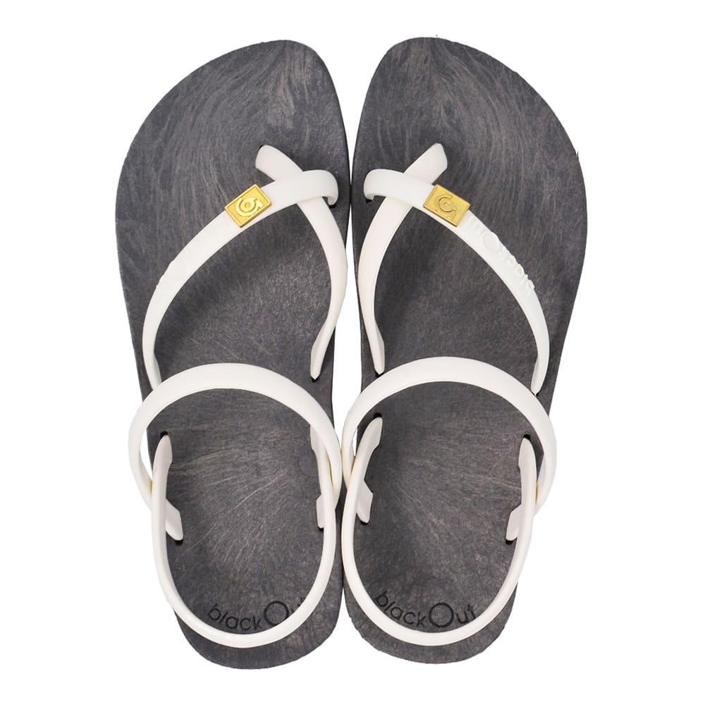 blackOut|訂製細帶涼鞋-灰底+白鞋帶