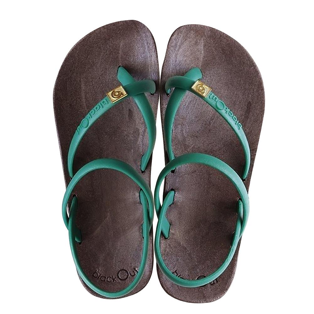 blackOut 訂製細帶涼鞋-巧克力底+綠鞋帶