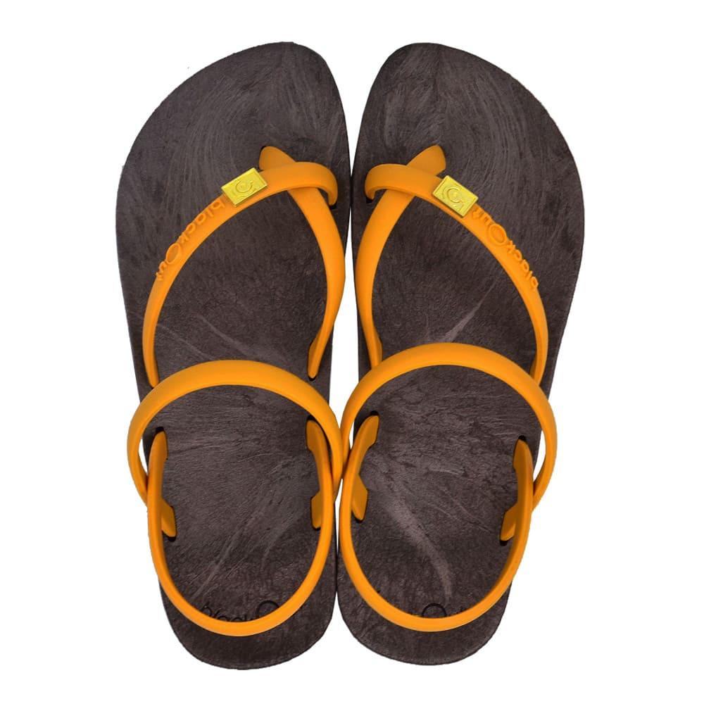 blackOut|訂製細帶涼鞋-巧克力底+芥黃鞋帶