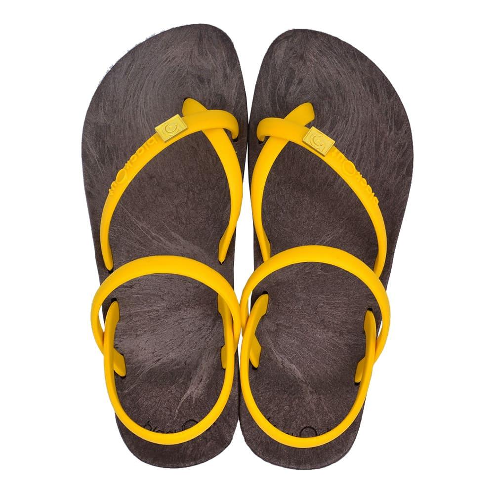 blackOut 訂製細帶涼鞋-巧克力底+鴨黃鞋帶