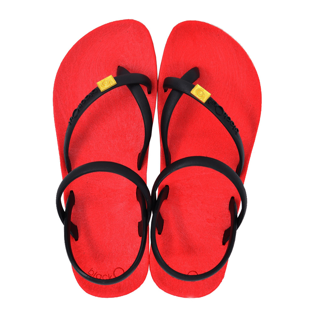 blackOut|訂製細帶涼鞋-紅底+黑鞋帶