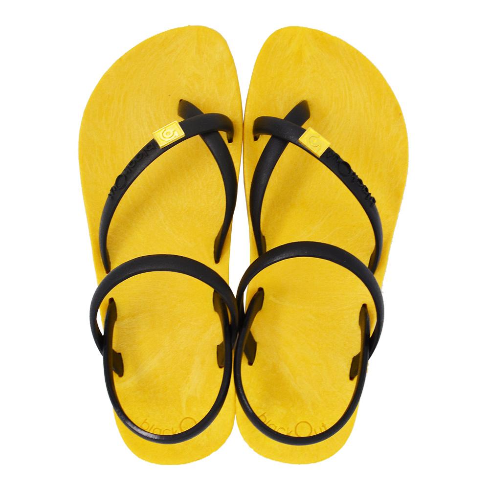 blackOut|訂製細帶涼鞋-黃底+黑鞋帶