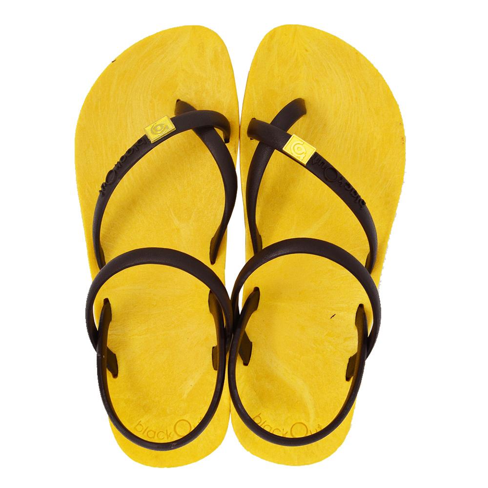 blackOut|訂製細帶涼鞋-黃底+巧克力鞋帶