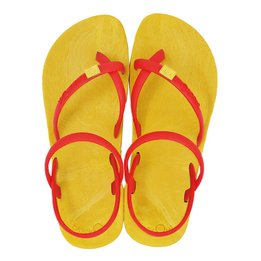 blackOut 訂製細帶涼鞋-黃底+紅鞋帶