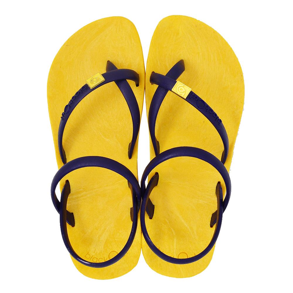 blackOut|訂製細帶涼鞋-黃底+藍鞋帶