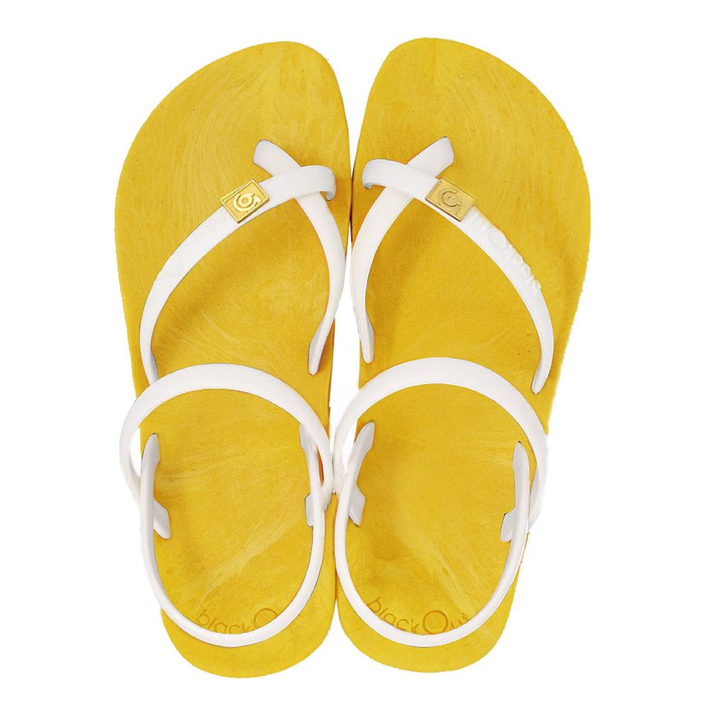 blackOut 訂製細帶涼鞋-黃底+白鞋帶