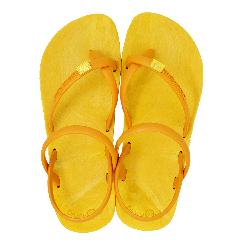 blackOut|訂製細帶涼鞋-黃底+芥黃鞋帶