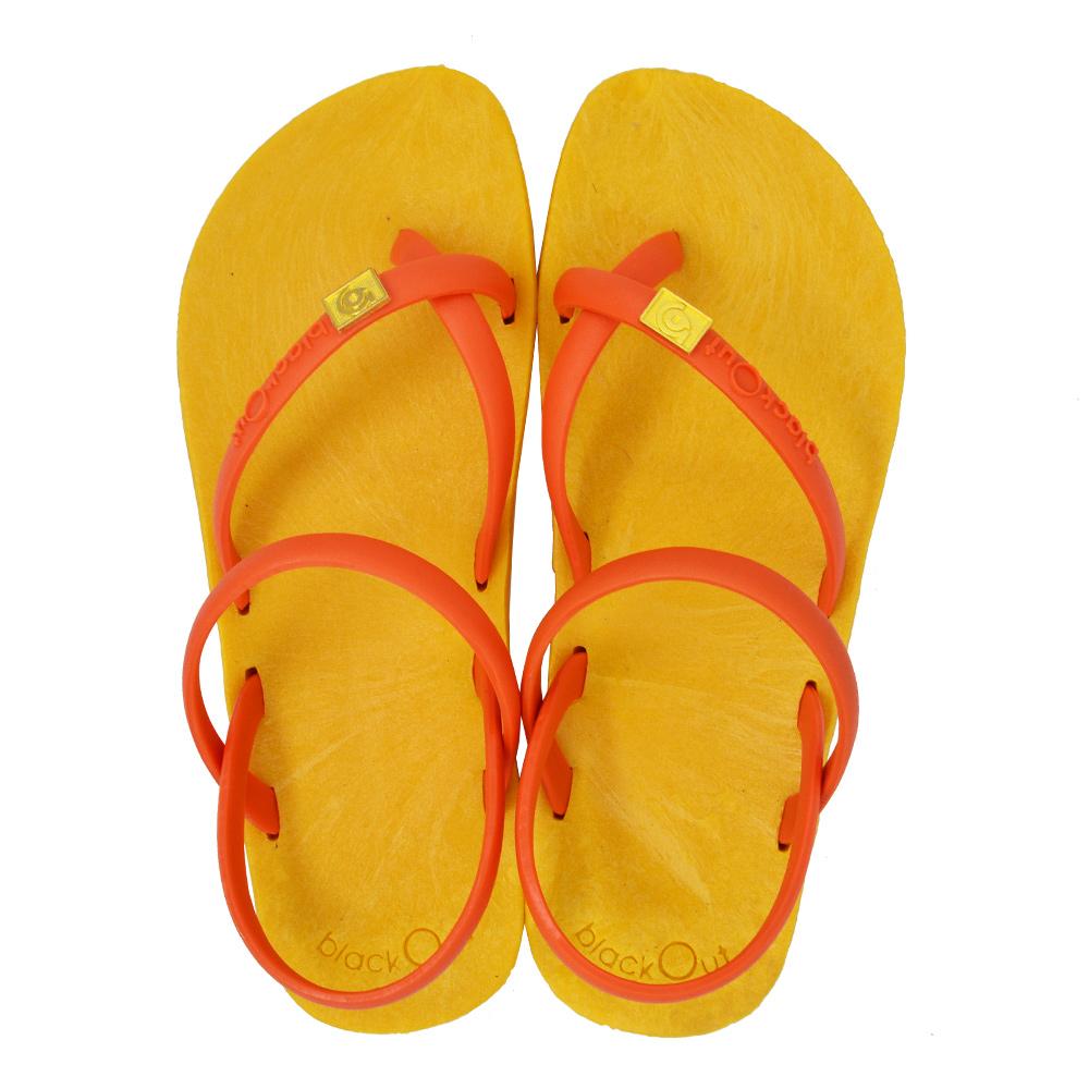 blackOut 訂製細帶涼鞋-黃底+橘鞋帶