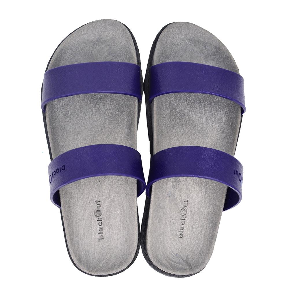 blackOut|訂製寬帶拖鞋-灰底+藍鞋帶