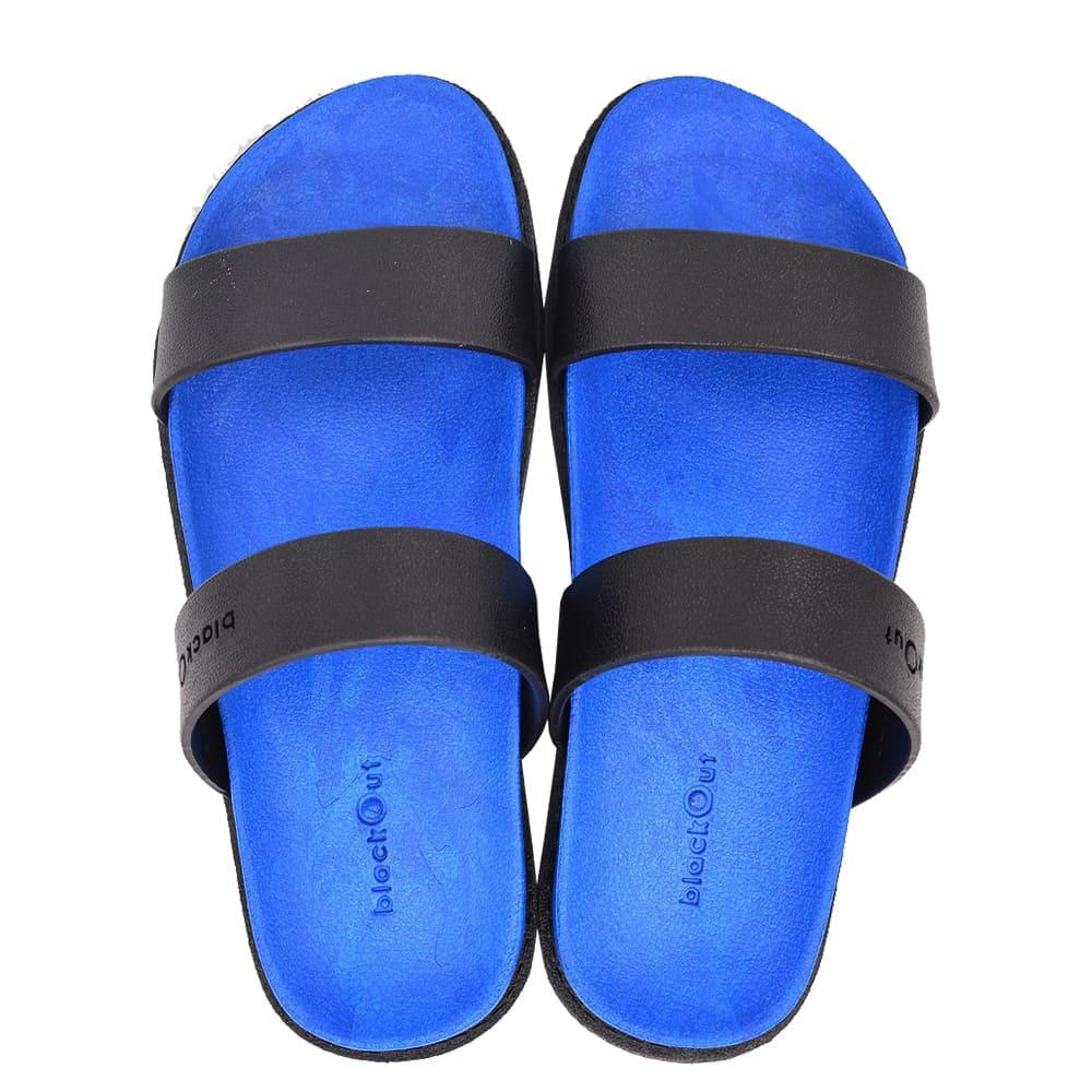 blackOut|訂製寬帶拖鞋-藍底+黑鞋帶