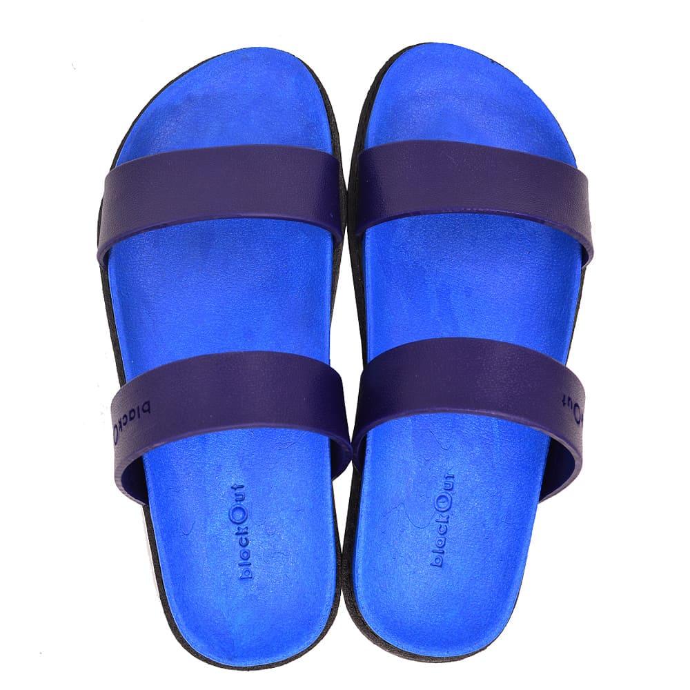 blackOut 訂製寬帶拖鞋-藍底+藍鞋帶