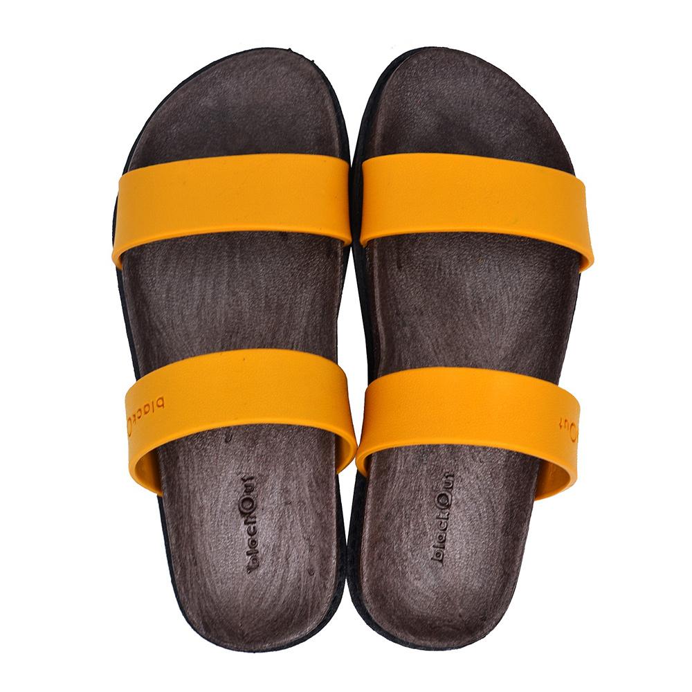 blackOut|訂製寬帶拖鞋-巧克力底+芥黃鞋帶
