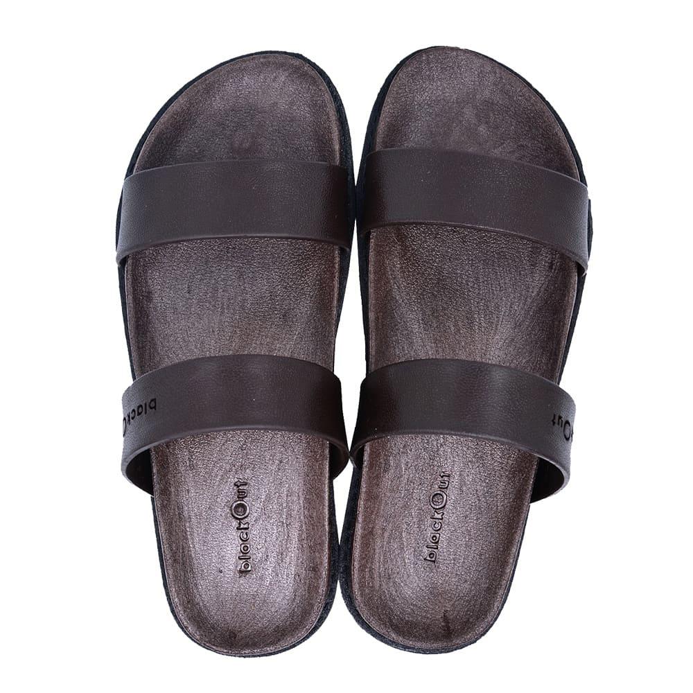 blackOut 訂製寬帶拖鞋-巧克力底+黑鞋帶