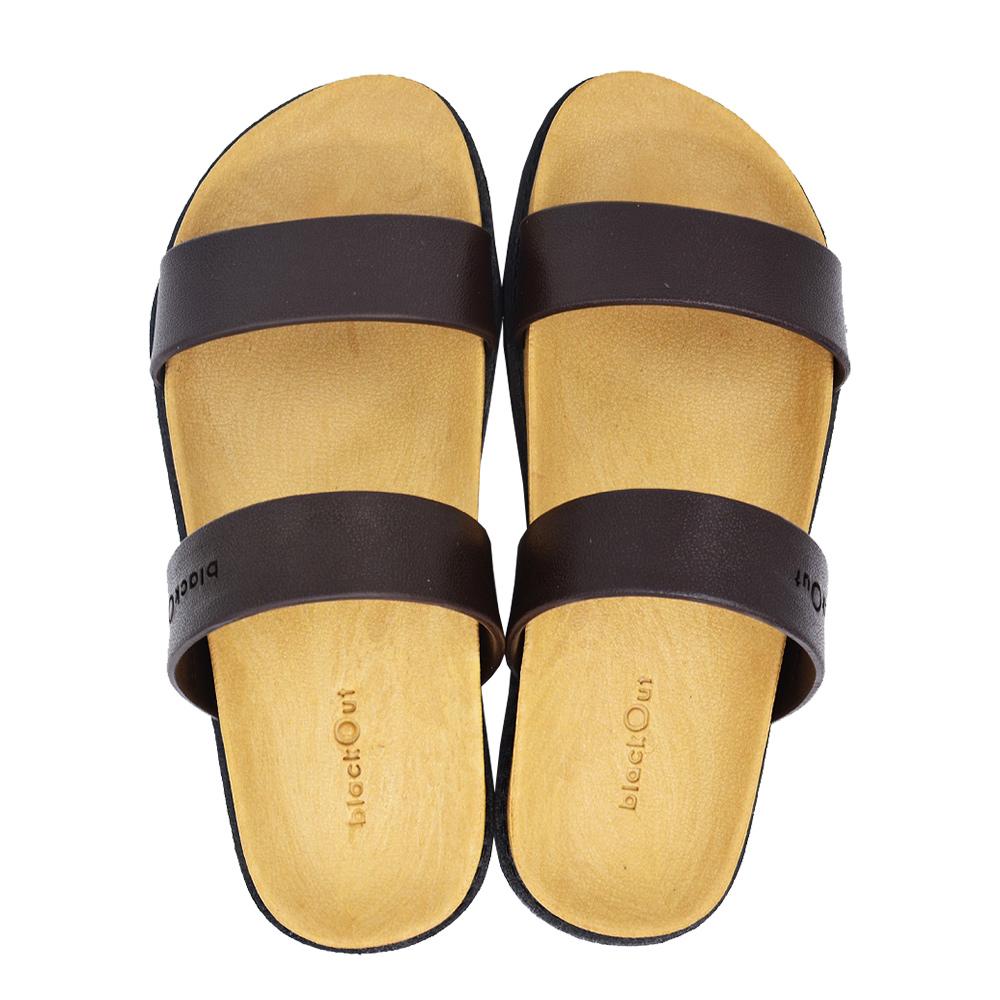 blackOut 訂製寬帶拖鞋-卡其底+巧克力鞋帶