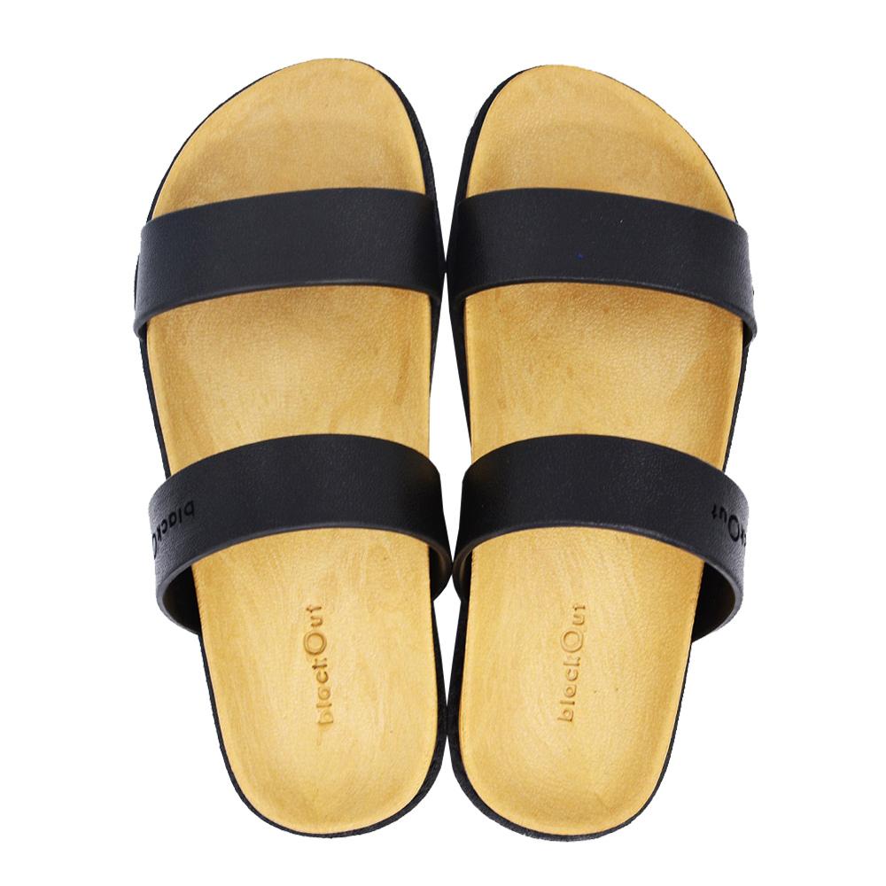 blackOut|訂製寬帶拖鞋-卡其底+黑鞋帶