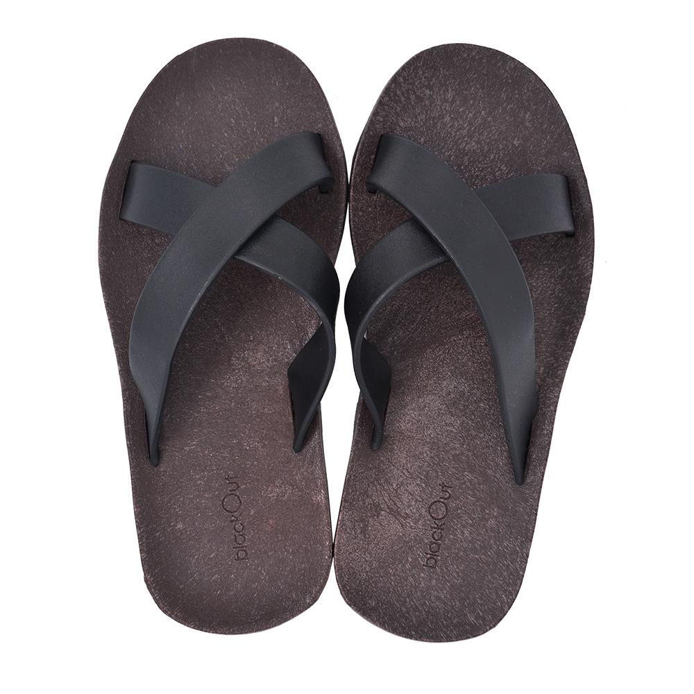 blackOut|訂製交叉拖鞋-巧克力底+黑鞋帶