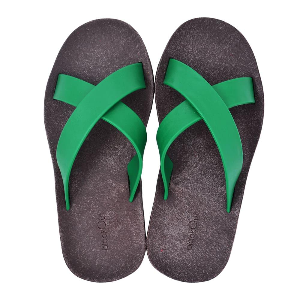 blackOut 訂製交叉拖鞋-巧克力底+綠鞋帶